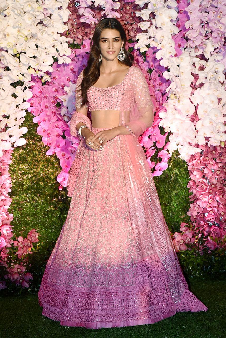 Bollywood actor Kriti Sanon 'feeling pink' in a Manish Malhotra design.