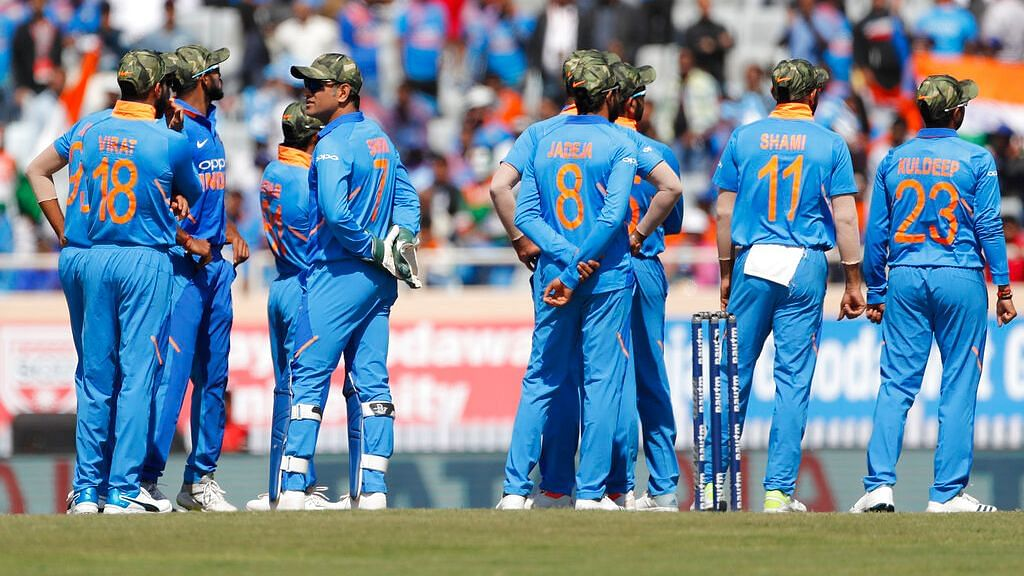 The Indian team sported camouflage caps as a tribute to the Indian armed forces during their third ODI against Australia at Ranchi on 8 March.