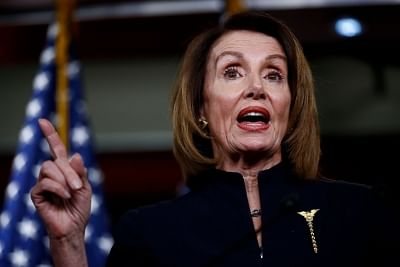 """WASHINGTON, Feb. 14, 2019 (Xinhua) -- U.S. House Speaker Nancy Pelosi speaks during a press conference on Capitol Hill in Washington D.C., the United States, on Feb. 14, 2019. U.S. President Donald Trump is prepared to sign a bipartisan bill on spending and border security to avert another government shutdown, but also declare a national emergency to obtain funds for his long-promised border wall, the White House said Thursday. Nancy Pelosi, the top Democrat in the House, said her party is """"revi"""