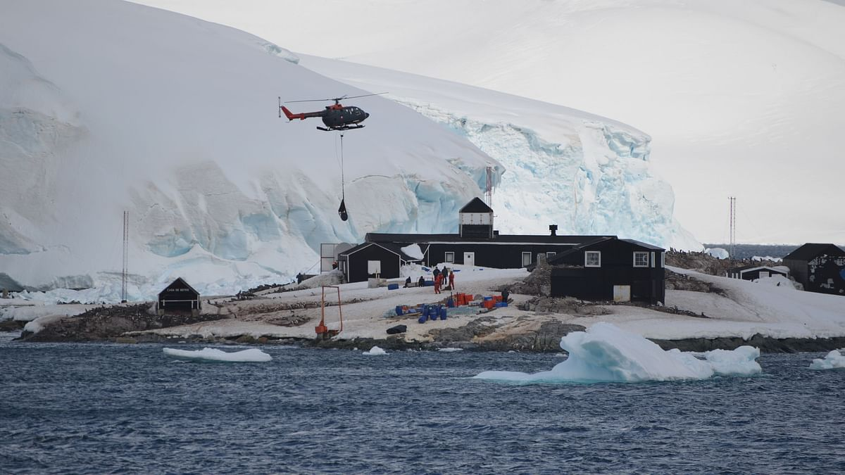 Helicopters delivering fuel to Chile's González Videla Base on Antarctic Peninsula.