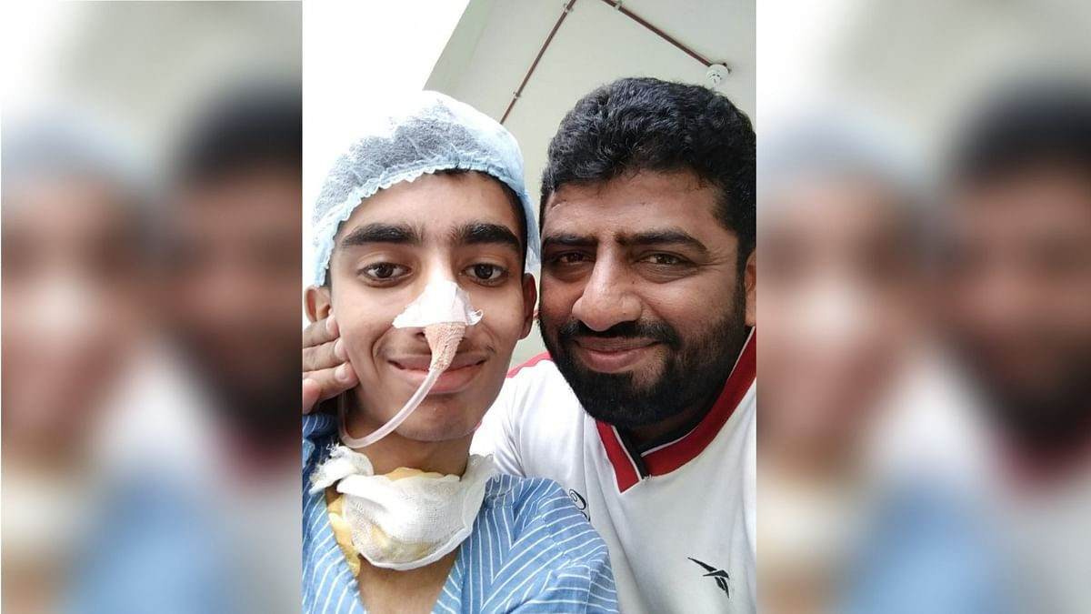 Mohammed seen with his father undergoing treatment.