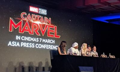 """Singapore: Actors Gemma Chan, Samuel L. Jackson, Brie Larson with directors Ryan Fleck and Anna Boden during a press conference regarding their upcoming film """"Captain Marvel"""" in Singapore, on Feb 14, 2019. (Photo: IANS)"""
