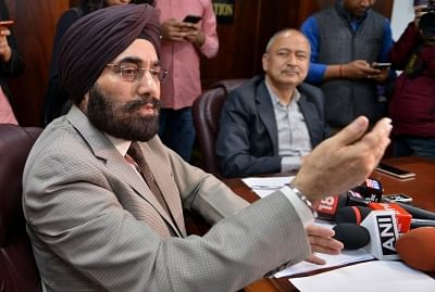 """New Delhi: Directorate General of Civil Aviation (DGCA) chief B.S. Bhullar along with Civil Aviation Secretary Pradeep Singh Kharola, addresses a press conference in New Delhi, on March 13, 2019. The DGCA late on Tuesday ordered """"grounding the Boeing 737-MAX planes immediately"""" after aviation authorities across the globe, with the notable exception of the US, decided to ground the particular aircraft following Sunday"""