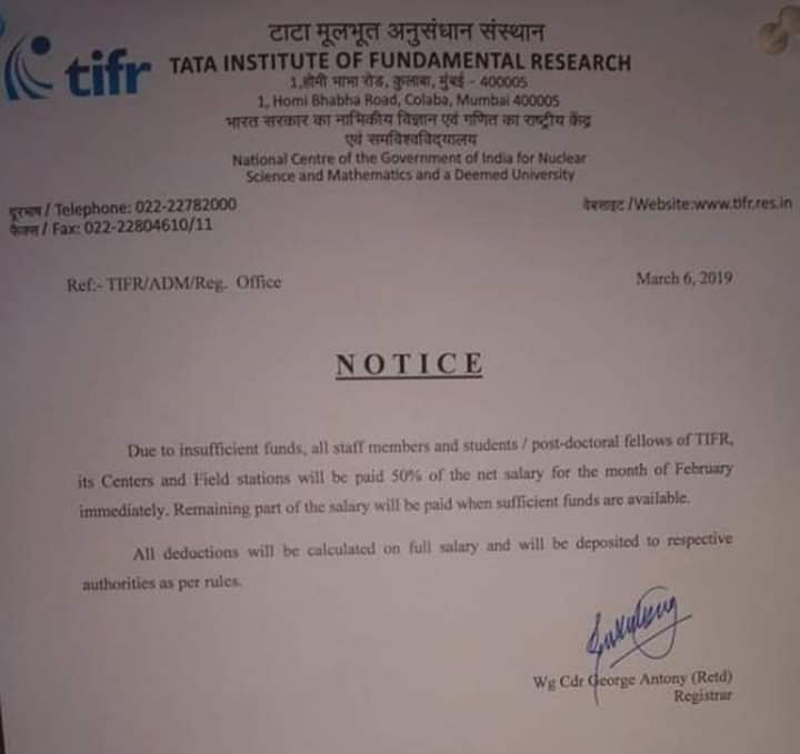 A Day After Citing Fund Crunch, TIFR Pays Staff Salaries in Full