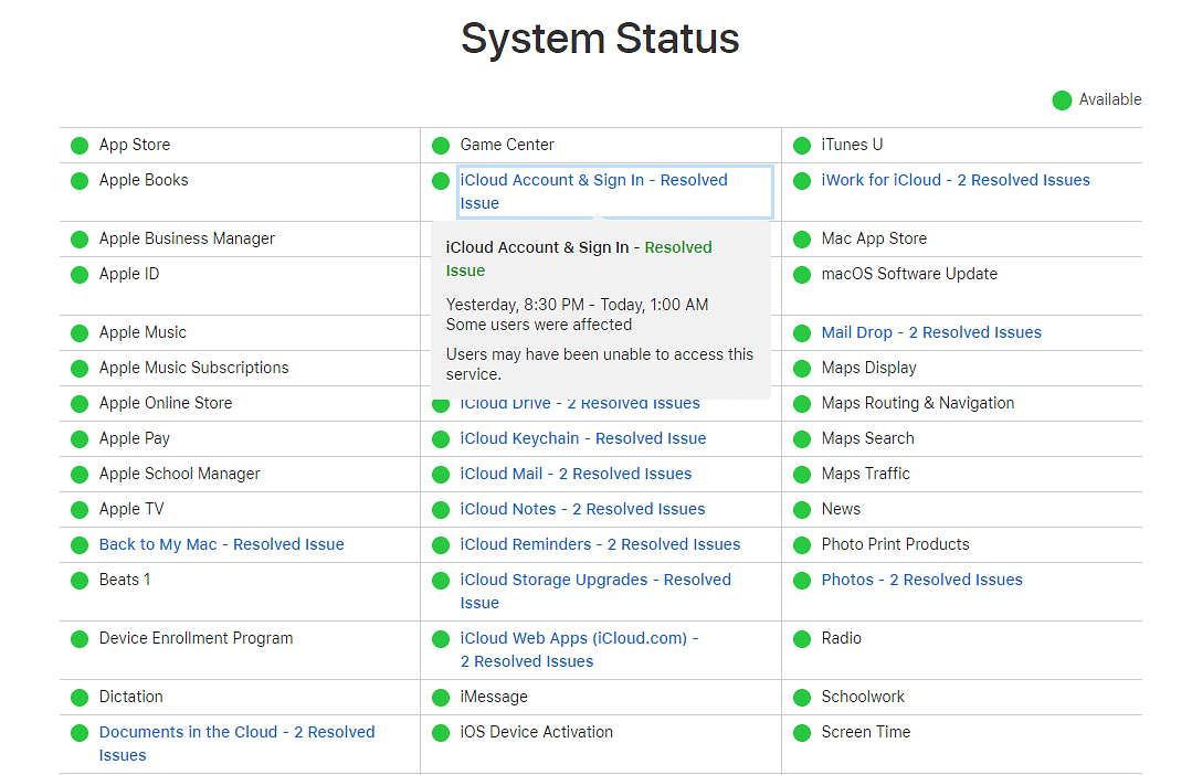 Various products of iCloud were not accessible to users.