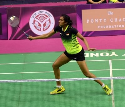 Lucknow: Indian badminton player P V Sindhu in action against compatriot Riya Mukherjee during a Syed Modi International Tournament match in Lucknow on Jan. 28, 2016. (Photo: IANS)