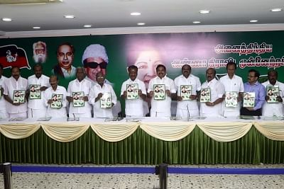 Chennai: AIADMK leaders - Tamil Nadu Chief Minister Edappadi K. Palaniswami, Deputy Chief Minister O. Panneerselvam and other leaders of the party at the launch of the party