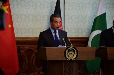 KABUL, Dec. 15, 2018 (Xinhua) -- Chinese State Councilor and Foreign Minister Wang Yi speaks to the press after attending the 2nd China-Afghanistan-Pakistan Foreign Ministers