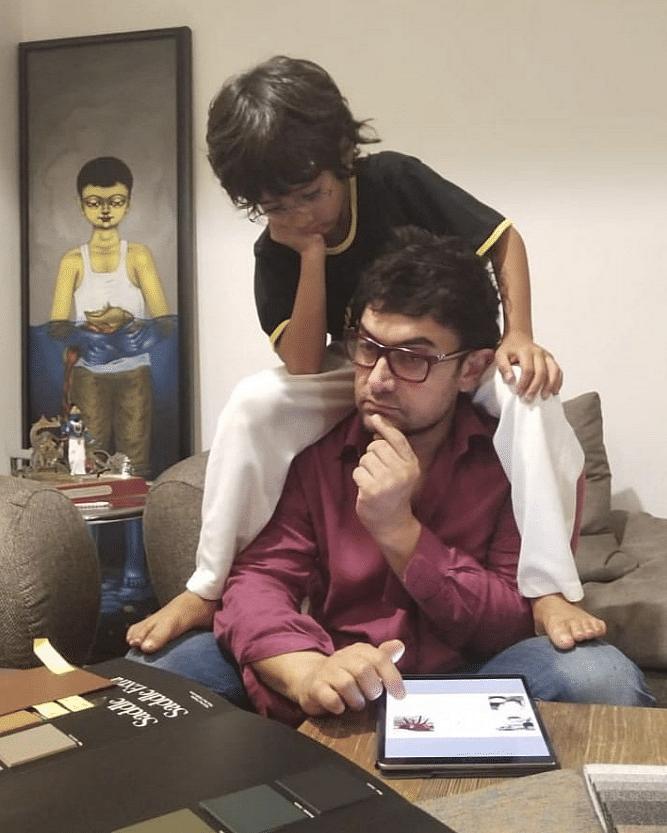 Aamir Khan with son Azad.