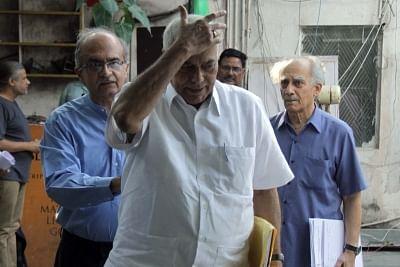 Eminent lawyer Prashant Bhushan, economist and journalist Arun Shourie and former BJP leader Yashwant Sinha. (Photo: IANS)