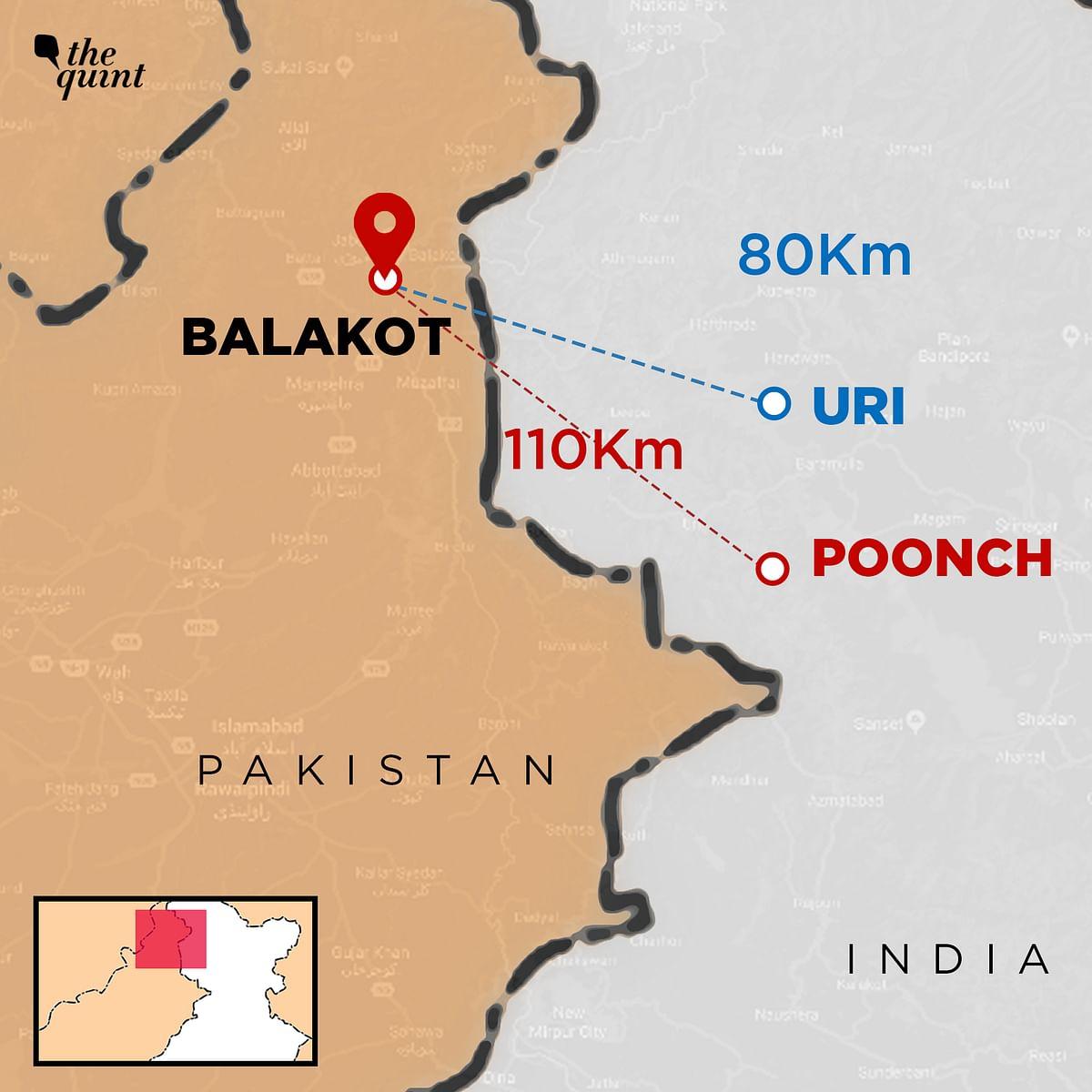 Line of sight distance or crow's flight distance between Uri (India) and Balakot (Pakistan).