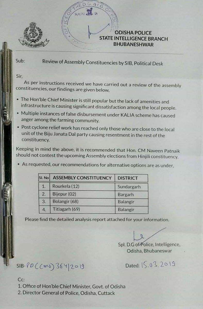Report Suggesting Alternate Constituencies for CM Patnaik Is Fake