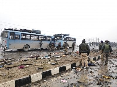 The site on on the Srinagar-Jammu highway where 40 Central Reserve Police Force (CRPF) troopers were killed in a suicide attack by militants in Jammu and Kashmir