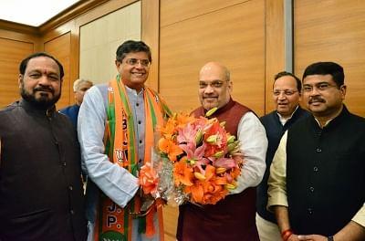 New Delhi: Former Biju Janata Dal (BJD) MP Baijayant Jay Panda with BJP leaders Amit Shah and Dharmendra Pradhan after joining BJP in New Delhi on March 4, 2019. (Photo: IANS)