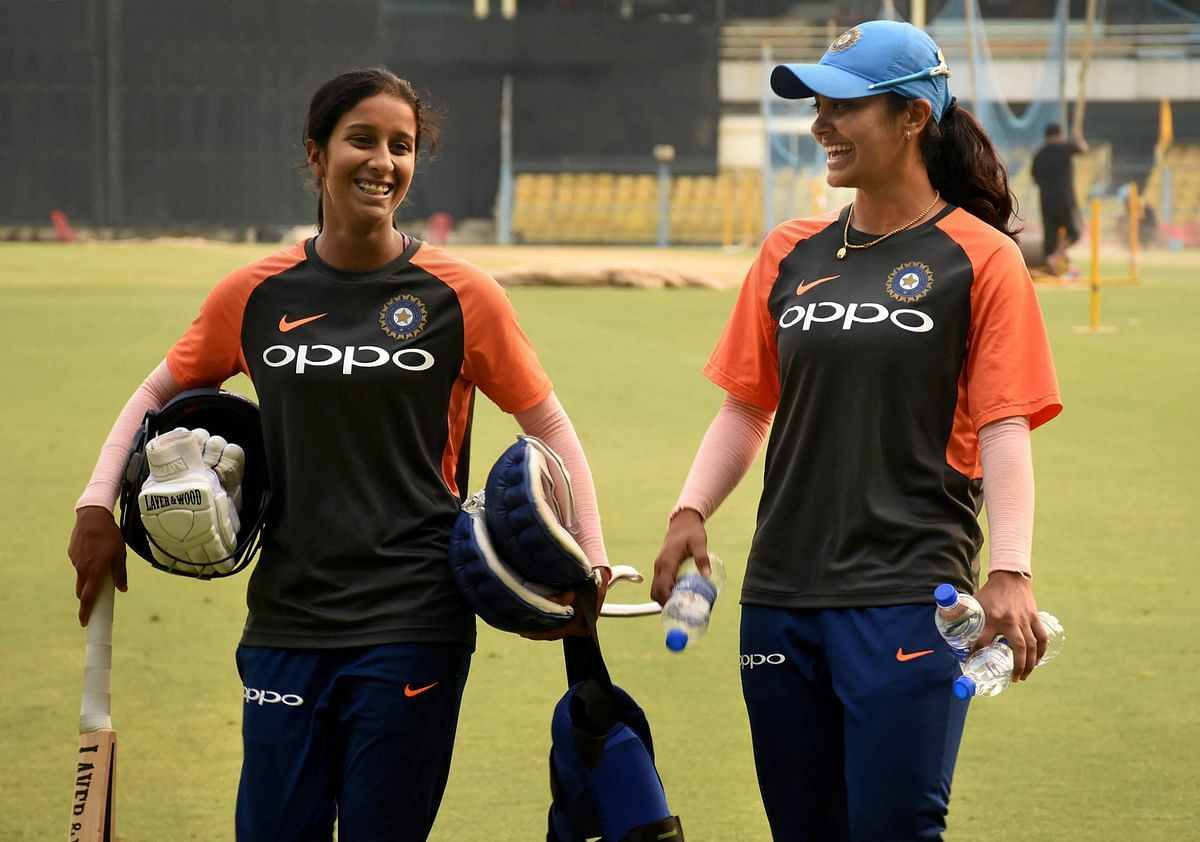 Indian cricketer Jemimah Rodrigues with Harleen Deol ahead of their second T20I against England.