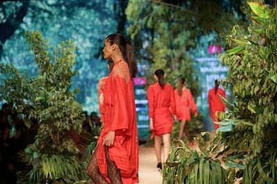 New Delhi: A model showcases the creation of fashion designer Rina Dhaka on the opening day of Lotus India Fashion Week in New Delhi, on March 13, 2019. (Photo: Amlan Paliwal/IANS)