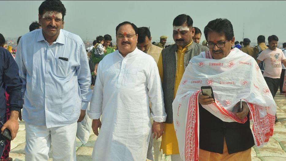 Union Minister JP Nadda at the Kumbh Mela.