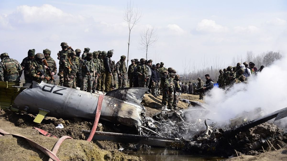 Wreckage of an IAF Mi17V5 helicopter which crashed near the Garend Kalan village in Jammu and Kashmir's Budgam area.