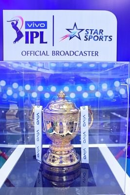 New Delhi: IPL 2019 Trophy on display at a Delhi mall on March 17, 2019. (Photo: IANS)