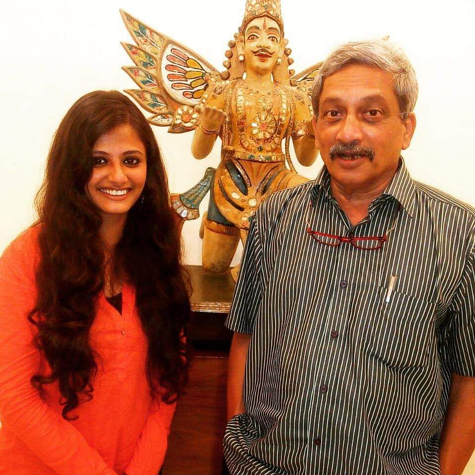 Mr Parrikar and I pose for a photograph.