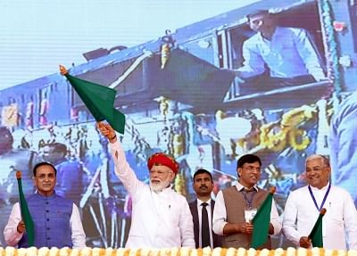 Jamnagar: Prime Minister Narendra Modi flags off various development projects in Gujarat