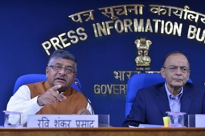 New Delhi: Union Law and Justice Minister Ravi Shankar Prasad along with Union Finance and Corporate Affairs Minister Arun Jaitley addresses a press conference in New Delhi, on March 7, 2019. (Photo: IANS)