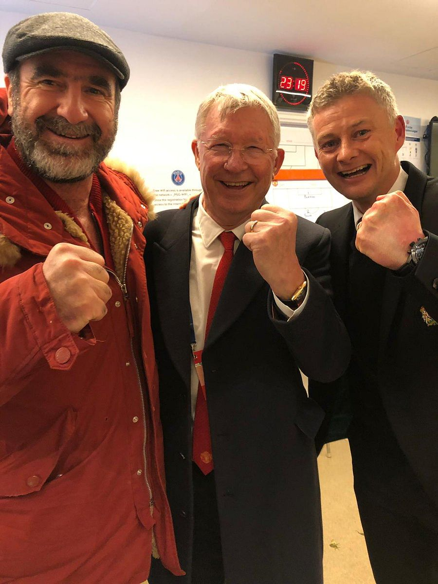An iconic picture, for an iconic night: Club legends Eric Cantona and Alex Ferguson celebrate with manager Ole Gunnar Solskjaer.