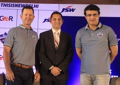 New Delhi: Delhi Capitals head coach Ricky Ponting, CEO Dhiraj Malhotra and advisor Sourav Ganguly at a press conference in New Delhi, on March 19, 2019. (Photo: IANS)