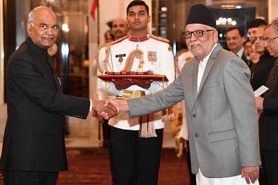 New Delhi: Ambassador-designate of Nepal, Nilamber Acharya presents his credentials to President Ram Nath Kovind at Rashtrapati Bhavan in New Delhi, on March 13, 2019. (Photo: IANS/RB)