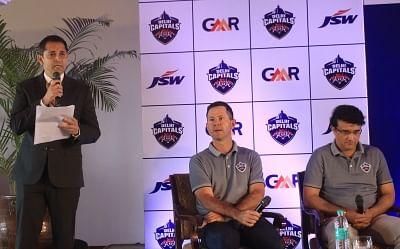 New Delhi: Delhi Capitals CEO Dhiraj Malhotra addresses during a press conference in New Delhi, on March 19, 2019. Also seen Delhi Capitals advisor Sourav Ganguly and head coach Ricky Ponting.  (Photo: IANS)