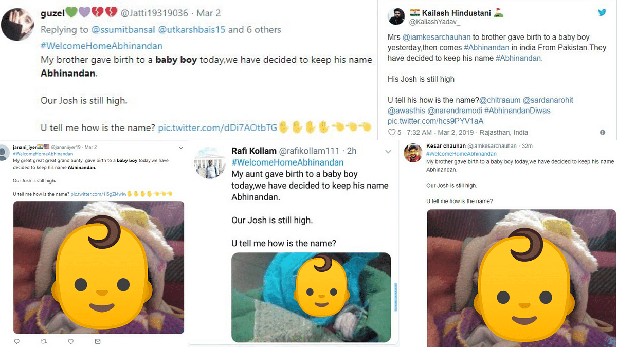 Similar tweets about 'baby boy' Abhinandan put up by various Twitter users.
