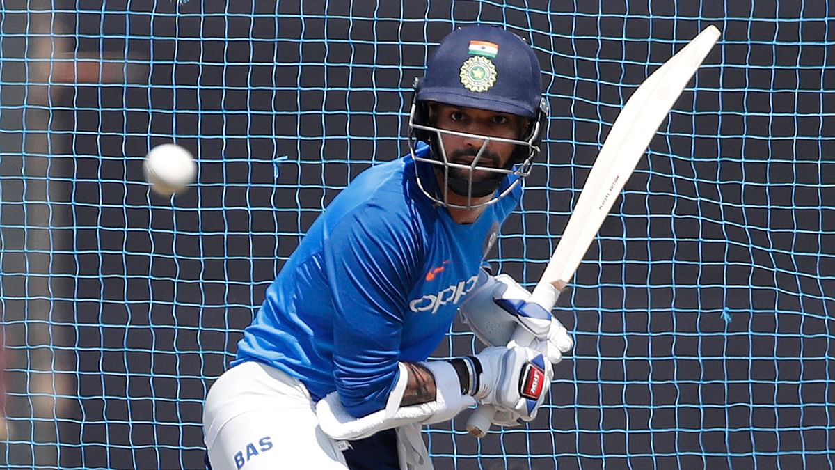 India's Shikhar Dhawan bats during a training session ahead of their third one day international match against Australia in Ranchi on Thursday, 7 March.