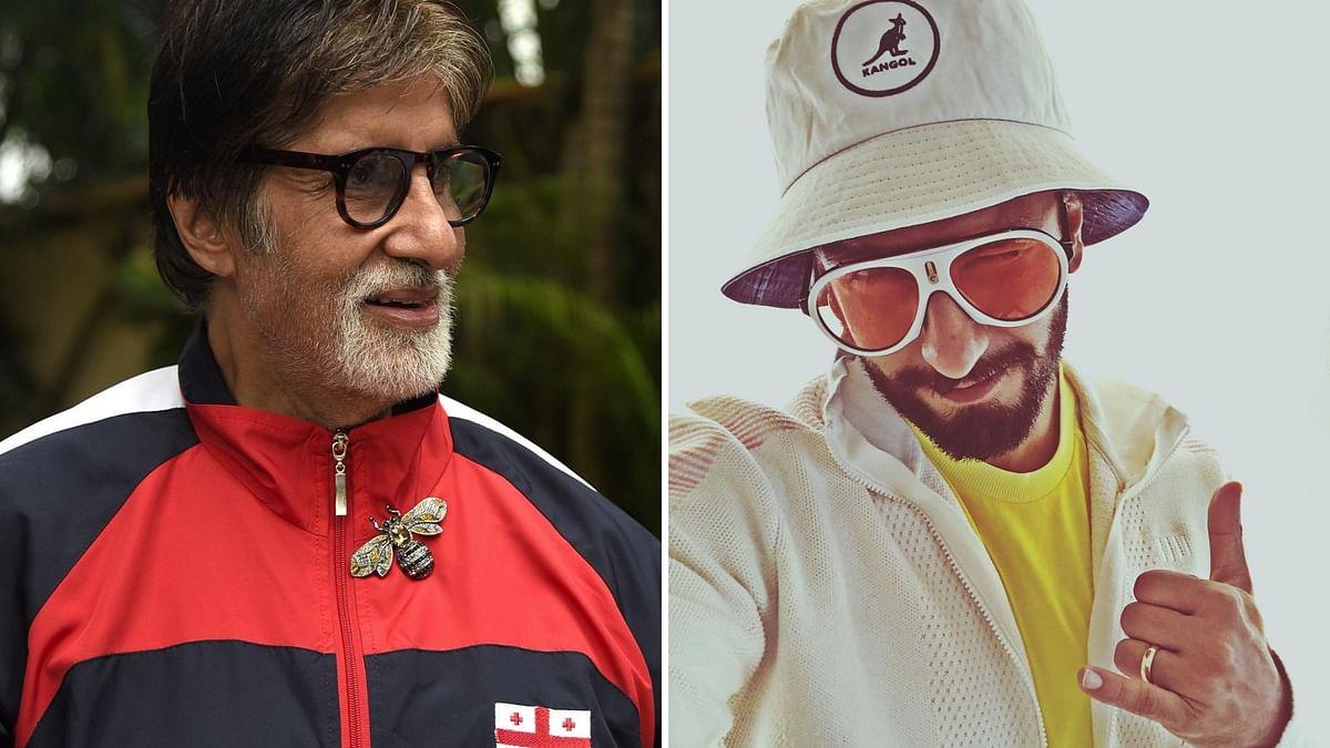 Bollywood actors Amitabh Bachchan and Ranveer Singh.