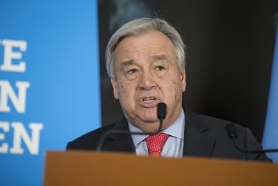 """GENEVA, Feb. 26. 2019 (Xinhua) -- United Nations Secretary-General Antonio Guterres delivers a speech after the High-Level Pledging Event for the Humanitarian Crisis in Yemen in Geneva, Switzerland, on Feb. 26, 2019. United Nations Secretary-General Antonio Guterres on Tuesday described the pledging conference for humanitarian aid for war-plagued Yemen a """"success"""" after donation assurances reached 2.6 billion U.S. dollars, up from 2 billion U.S. dollars in 2018. (Xinhua/Xu Jinquan/IANS)"""