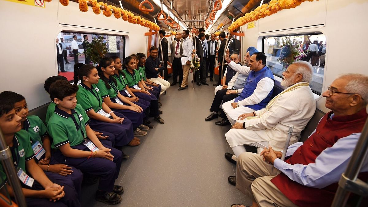 Prime Minister Narendra Modi travels in the newly inaugurated Ahmedabad Metro with Chief Minister Vijay Rupani and Gujarat Governor OP Kohli.