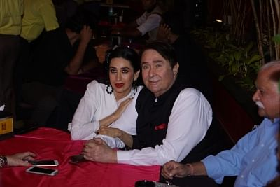Mumbai: Actress Karisma Kapoor along with her father Randhir Kapoor at the opening ceremony of Prithvi Theatre Festival 2017 in Mumbai on Nov 3, 2017.(Photo: IANS)