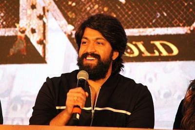 "Mumbai: Actor Yash addresses at the trailer launch of his upcoming film ""K.G.F"" in Mumbai, on Dec 5, 2018. (Photo: IANS)"