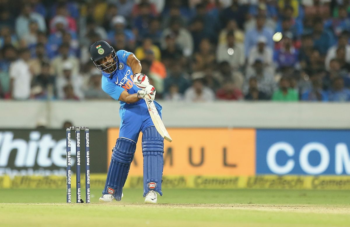 Kedar Jadhav in action during his match-winning 81* in India's first ODI against Australia at Hyderabad.