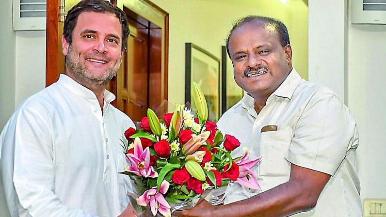 File photo of Congress president Rahul Gandhi with HD Kumaraswamy