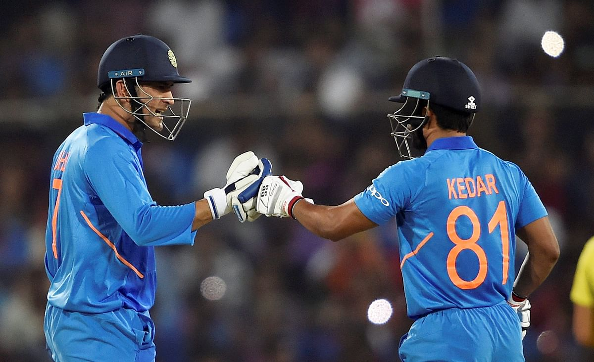 MS Dhoni and Kedar Jadhav guided India to victory in the first ODI against Australia in Hyderabad.