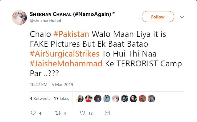 Screengrab of Chahal's tweet suggesting that the pictures are fake