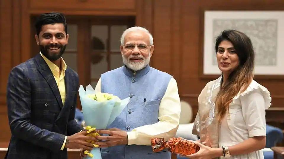 Ravindra Jadeja and his wife Rivaba with Prime Minister Narendra Modi.