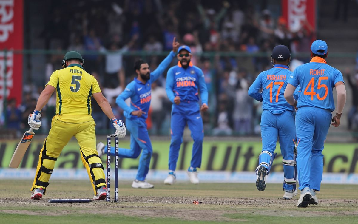 Ravindra Jadeja removed Aaron Finch for 27 during the series-deciding fifth ODI between India and Australia at New Delhi.