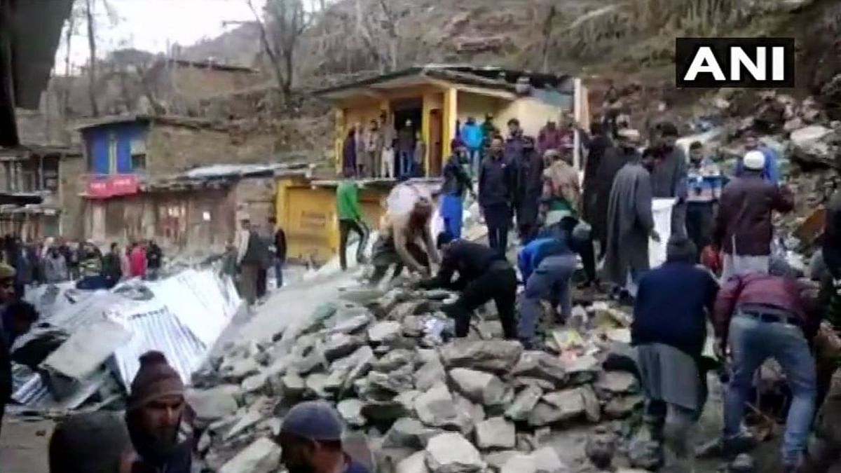 A massive landslide buried nearly three dozen shops in a rural market in Jammu and Kashmir's Doda district.
