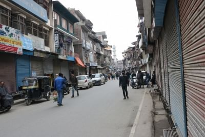 Awantipora: Shops remain closed during a shutdown following the death of a local youth in police custody, in Jammu and Kashmir