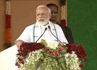 Kancheepuram: Prime Minister Narendra Modi addresses a public meeting in Tamil Nadu