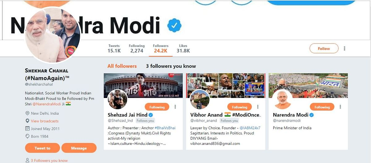 Screengrab showing PM Modi follows Chahal