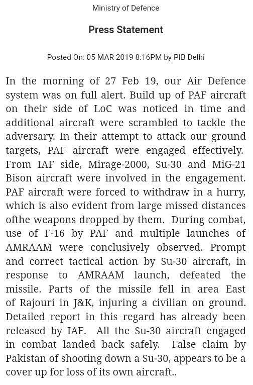 Pak Claim of Shooting Down Sukhoi Su-30 Aircraft 'False': IAF