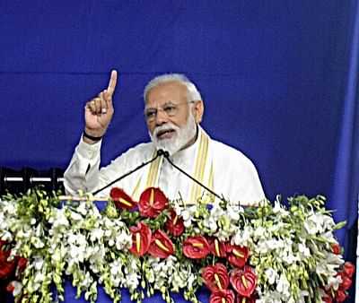 Ahmedabad: Prime Minister Narendra Modi addresses during a rally in Ahmedabad on March 4, 2019. (Photo: IANS)