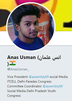 The picture was shared by a profile claiming to be the coordinator of social media for Congress' Delhi unit.